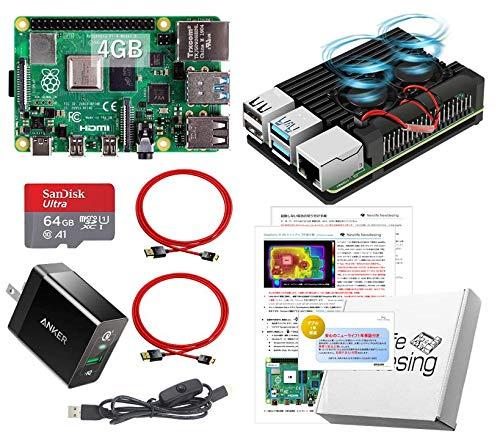 Raspberry Pi 4 アーマード (4GB基盤, アーマーケース(ブラック:FANタイプ), Anker 18W電源, 高速型64GB MicroSD,4K出力用HDMIケーブル2本, スイッチケーブル)