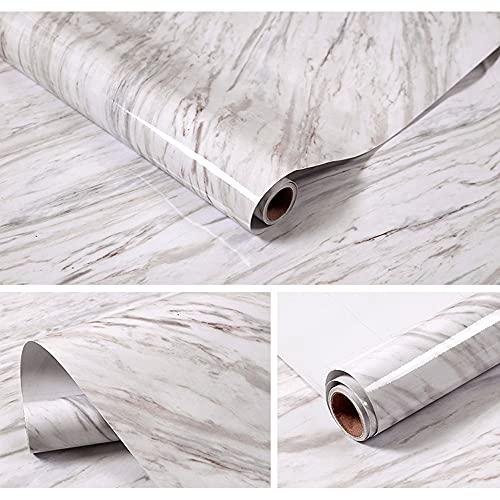 HautStore Papier Adhesif pour Meuble de Marbre, PVC Papier de Contact Auto-Adhésif pour Différentes Occasions Bois Papier Peint Adhesif Mural Papier Adhesif pour Meuble (40*1000cm)