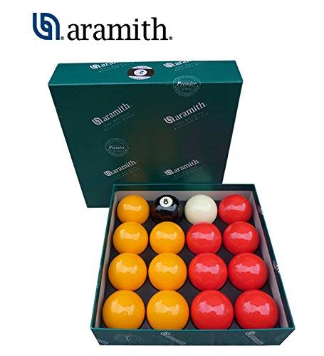Aramith the Belgian Billiard Balls Premier Casino bilie Biliardo, con buche, disciplina Pool Inglese mm.57,2. 7 bilie Gialle, 7 Rosse, Una Nera numerata e Una Bianca Battente.