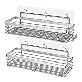 Orimade Shower Caddy with 5 Hooks for Hanging Razor and Sponge Adhesive Shower Shelf Storage Kitchen Rack No Drilling Stainless Steel - 2 Pack