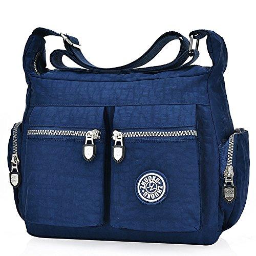 Borsa casual da donna, multi tasca, usabile a bandoliera, a tracolla o a mano, MB-0708, Blu