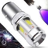 BA20D LED Motorcycle Headlight Bulb 3 COB+3528 LEDs 15Watts High Low Beam H6 LED Motorbike Headlamp Super Bright 2500Lumens Double Colors Blue & Xenon White.(1-Pack). (BA20D-3COB-3528)
