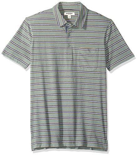 Amazon Brand - Goodthreads Men's Short-Sleeve Sueded Jersey Polo, Green Retro Stripe, Medium