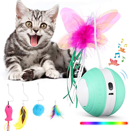 Interactive Cat Toys Ball with Colorful Light & Bird Sound - USB Charging Automatic Irregular 360 Degree Self Rotating Ball - 5 Replacement Feathers Robotic Cat Toy for Indoor Cats Kitten (Green)