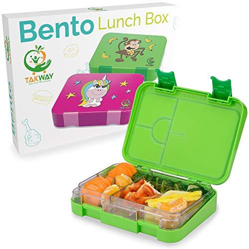 TAKWAY Bentobox Kinder mit Fächern Affe grün | Brotbox Kinder mit Unterteilung variabel 4 oder 6 Fächer | Brotdose mit Fächern Kindergarten Schule KiTa | Jausenbox mit Unterteilung Kinder Jungen