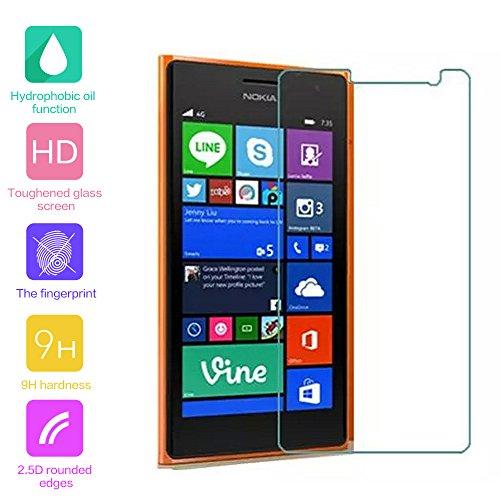 fenrad® Esclusivo Alta Qualità in Vetro Temperato Pellicola protettiva schermo di protezione per Nokia Lumia 730 / 735 (Il panno in microfibra incluso)(Radians models,can't be covered fully)