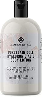 ASDM Beverly Hills Porcelain Doll Body Lotion with Hyaluronic Acid 16 Oz 480ml, Intensive Body Hydronation Healing Moisturizer w/Honey, Vitamin E, Watermelon Silk Extracts, Camellia Seed Oil, Dry Skin