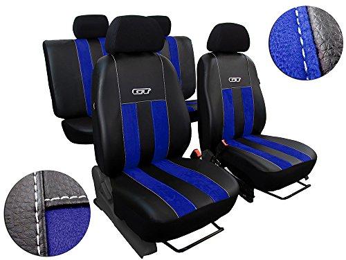 POK-TER-TUNING Autositzbezüge Passend für Duster. Sitzbezüge Set Kunstleder mit Alcantra. Design GT. in Diesem Angebot Blau.