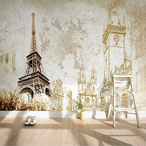 Papel tapiz mural grande 3D europeo retro nostálgico edificio de la torre mural sala de estar TV sofá decoración del hogar revestimiento de paredes-200x140cm