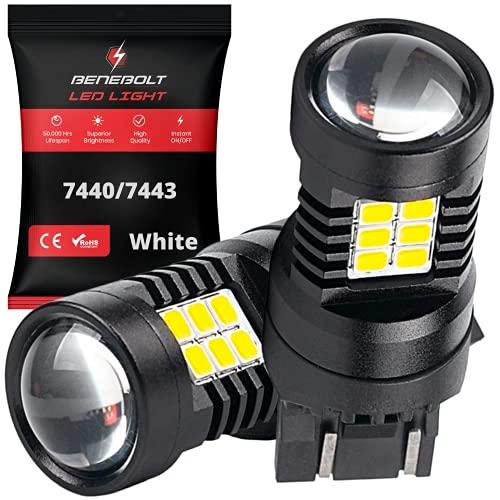 BENEBOLT 7440 7443 LED bulbs 3600 Lumens White LED Reverse lights - W21W T20 7441 7444 bulb - 10.5W...