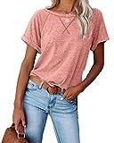 ayreus Summer Short Sleeve Womens Tshirts:Casual Loose Fit Tunic Tops Crewneck Raglan Shirt Tees(1-Pink,Large)