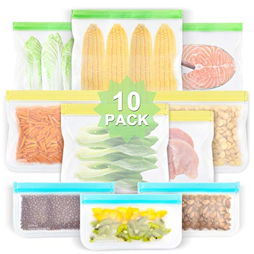 Reusable Food Storage Bags 10 Pack EXTRA THICK Food Grade BPA FREE Leakproof Freezer Bags 3 Reusable Gallon Bags 4 Reusable Sandwich Bags 3 Snack Bags Seal Bag for Travel Items by WILLROAD