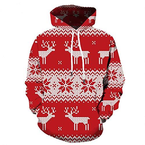 KPILP Herren Hoodie Kapuzenpullover 3D Druck Weihnachten Sweatshirt Oversize Unisex Langarm Pullover Christmas Casual Xmas Party Kapuzenpulli Tops