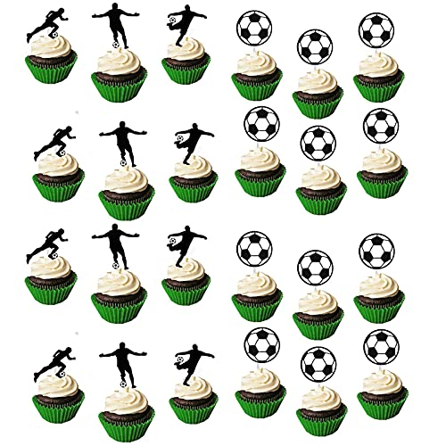 DTSC 36-Stück Fußball-Cupcake-Toppern, Sport-Party-Dekorationen, Fußballfiguren Kuchen Toppers, Fußball Party Dekoration, Geeignet für Geburtstagsfeier-Dekoration, Babyparty, Kuchendekoration