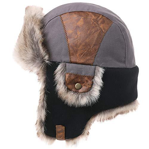 SIGGI Caldo cappello da aviatore in cotone con paraorecchie e con pelo all'interno, colbacco con pelo solo all'interno, unisex/maschile 67191_grigio. Taglia unica