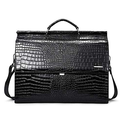 """BOSTANTEN Leather Briefcase for Women 15.6"""" Laptop Business Messenger Bags Crocodile Style"""