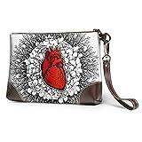Hdadwy Bolso de mano de cuero suave impermeable para mujer, cartera de muñeca de corazón de anatomía...