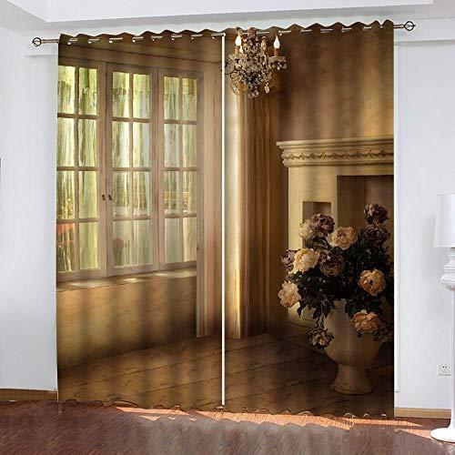 YMLJH 3D Vorhang Blickdicht Gardine Luxus & Einfachheit 2 x B117 x H138cm Polyester Schlafzimmer Kinderzimmer Wohnzimmer Dekoration