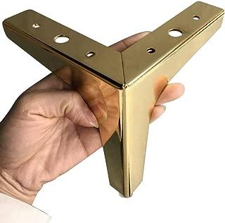 Hyever Metal Sofa Legs Furniture Replacement Leg Golden Sofa Feet Heavy Duty Triangle Cabinet Feet Set of 4 (4 Inch)