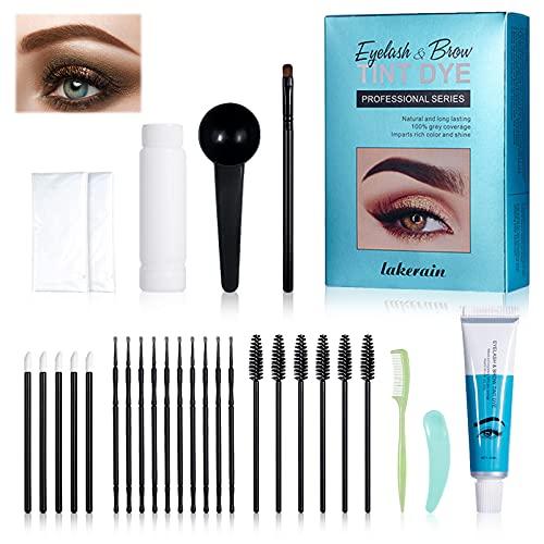 Eyebrow Cream Set Eyebrow Dye Kit Professional Brow Dye Cream for Eyebrow Lash Semi Permanent Dye Kit Tint,Long Lasting Waterproof Tattoo Eyebrow,with Brush Makeup Tools(Brown)