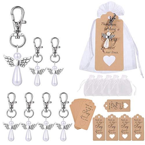16 Llaveros de Ángel de la Guarda, Amuletos de la Suerte para Invitados Colgantes de Perlas de Alas de Ángel con Joyas Bolsas de Organza Etiquetas de Agradecimiento para Fiestas de Cumpleaños Bodas