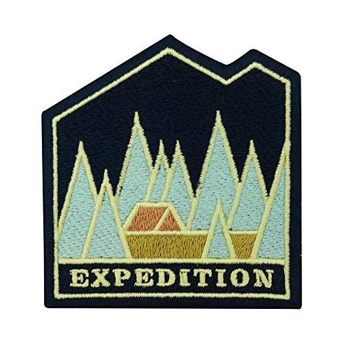 Adventure Collection: Expedition - Parche termoadhesivo, diseño de tiendas de campaña en el bosque, para hacer senderismo, para exteriores, árboles, árboles, montañas, parches también para mochilas