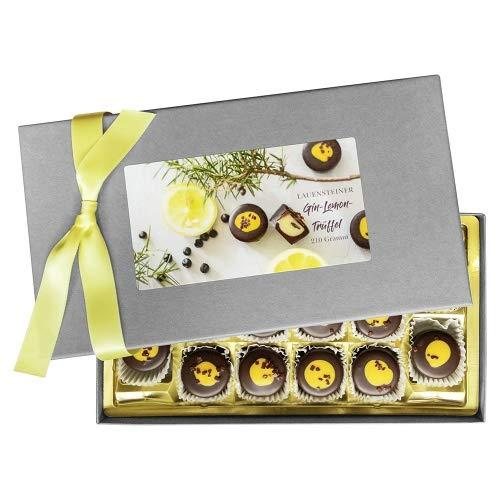 Lauensteiner Gin-Lemon-Trüffel | 210 g handgefertigte Trüffel | sortenreinmit Alkohol | Ideales Geschenk für jeden Anlass | 1er Pack