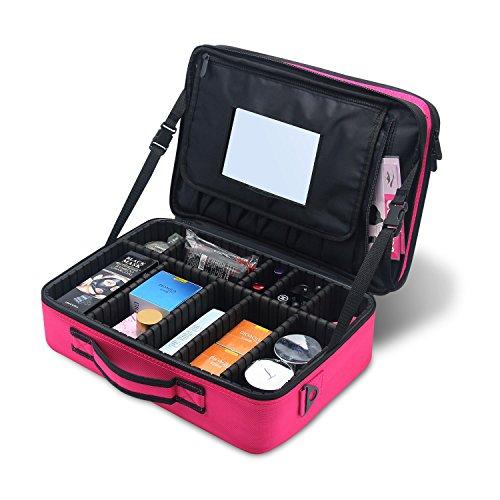 Mlmsy Mallette de maquillage Voyage professionnel Pinceaux de maquillage Portable Miroir de maquillage de sac avec sac de rangement organiseur avec diviseurs ajustables(Rose Grande avec miroir)
