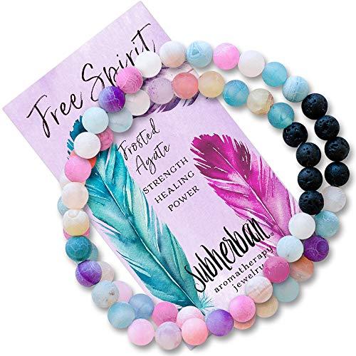 Subherban Essential Oil Bracelets - Aromatherapy Bracelet - Agate Lava Rock Anxiety Bracelet - FREE SPIRIT WRAP - Handmade Jewelry - Gifts for Women