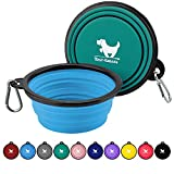 Expandable Dog Bowls for Travel, 2-Pack Dog Portable Water Bowl for Dogs Cats Pet Foldable Feeding Watering Dish for Traveling Camping Walking with 2 Carabiners, BPA Free