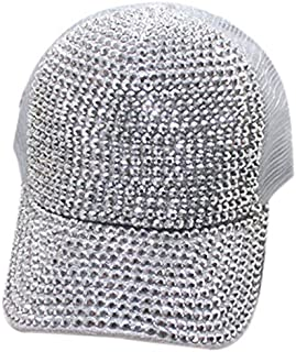 JVSISM Baseball Cap With Rhinestones Bling Luxury Women'S Cap Summer Casual Mesh Sun Visor Hat Adjustable Hip Hop Pink