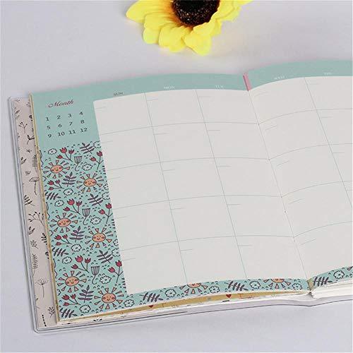 Mingstong Cuaderno-Planificador de Planes mensuales Organizador de agendas Agenda Agenda Libro Oficina y útiles Escolares Papelería, B