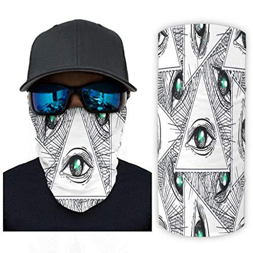 Schwarze und weiße Augen 12 in 1 Multifunktional Stirnband Feuchtigkeitsableitende Stirnbänder für Heißen Sommer Radfahren Wandern Angeln für Herren & Damen White OneSize