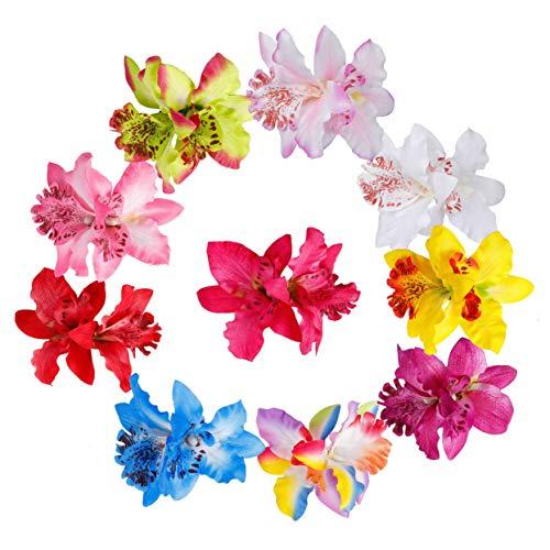 Blumen Haarspangen Multicolor Hawaiian Flowers Hochzeit Braut Blume Stoff Dendrobium Orchidee Haarclip Hochzeit Party Strand für Kinder Frau Mädchen 10 Stück