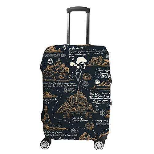 Ruchen - Funda Protectora para Maleta, diseño de mapas Antiguos Dibujados a Mano,...