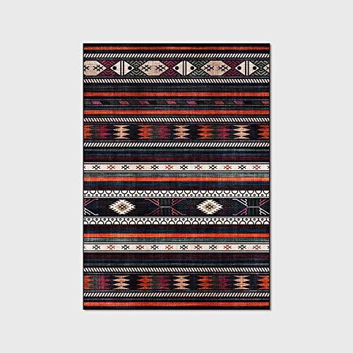 HJFGIRL Vintage Teppich Mode National Style Teppiche Geometrisches Design Teppich Schwarz Und Orange Wohnzimmer Bodenmatte Kids Play Zelt Übungspads Nachttisch,50x120cm(20x47inch)