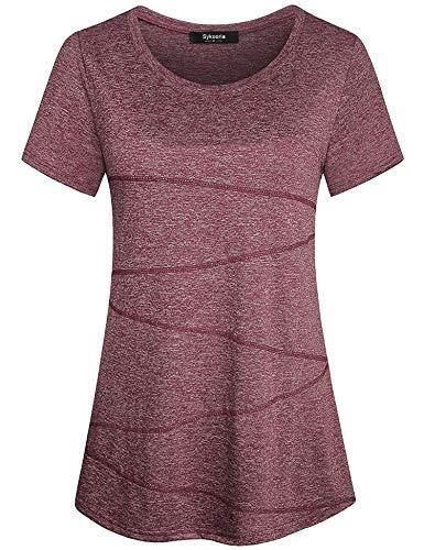 Sykooria Kurzarmshirt Damen Sportshirt Atmungsaktiv Dehnbar Leicht Yoga Hiking Sport Gym Fitness T-Shirt Damen Weinrot