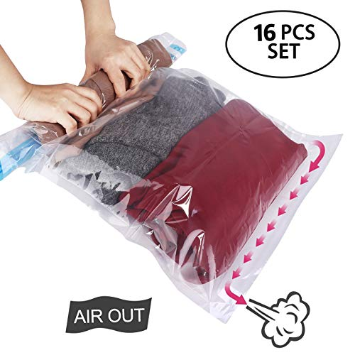 HOMEIDEAS 16 Pack Travel Compression Bags, Travel Space Saver Bags Roll Up Compression Storage Bags - No Vacuum or Pump Needed, Perfect for Travel/Home Storage - 24x16 inch
