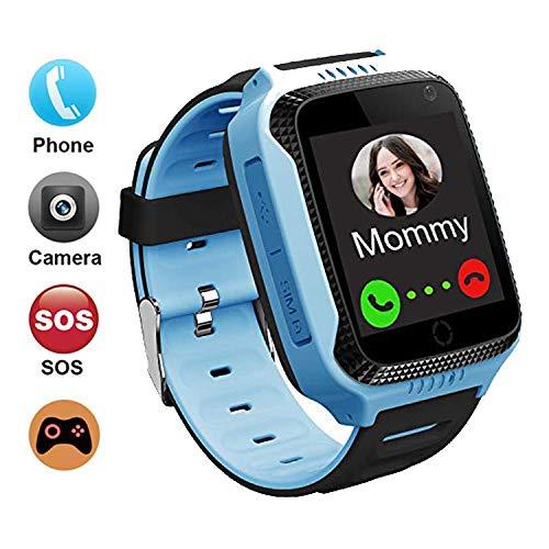GPS student smartwatch telefoon voor kinderen, touchscreen, smartwatch met oproep, voice bericht SOS, zaklamp, digitale camera, wekker, cadeau voor kinderen, jongens, meisjes, studenten, (XLH S-8 blauw)