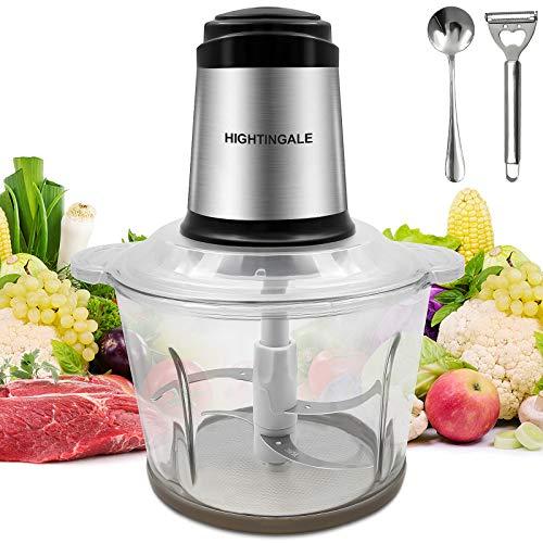 Hightingale Picadora Electrica de Alimentos 300W,Tazón de Vidrio 3L,2 Niveles de Velocidad,con 4 Cuchillas Afiladas,Multifuncion Picadora de Carne para Carne,Verduras,Frutas y Cebolla