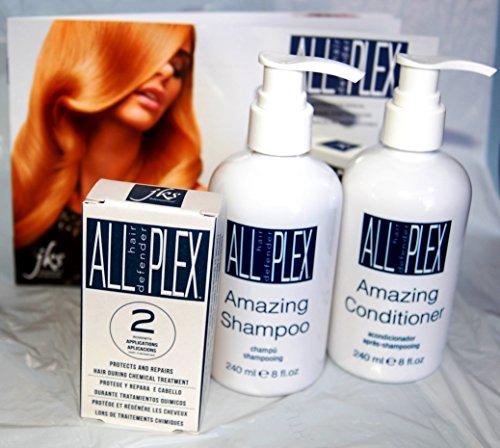 "PLEX Defender & Repair Bundle - 3 items: PLEX Bond Treatment 2 Application Kit, 8oz PLEX Amazing Shampoo & 8oz PLEX Amazing Conditioner"" and SAVE by JKS ALL hair defender PLEX"