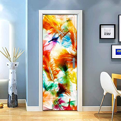 Gzltd Adhesivos para puertas Plumas de colores 3D Papel pintado PVC Impermeable y a prueba de aceite,adecuado para decoración de puertas sala de estar,dormitorio,cocina y baño 77x200cm