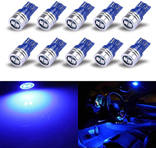 iBrightstar Extremely Bright 3030 Chipsets 168 175 194 2825 W5W T10 Wedge LED Bulbs for License Plate Interior Map Dome Trunk Lights, Blue