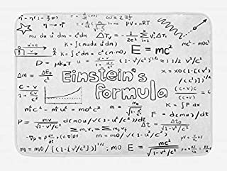 Lunarable Science Bath Mat, Geek Nerd Culture Handwriting Style Physics Mathematics Formula Educational, Plush Bathroom Decor Mat with Non Slip Backing, 29.5