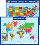 World Map Poster and United States USA Map Poster for Kids - Laminated, Size 14x19.5 in.- Educational Posters for Classroom Decorations, Homeschool, Teacher Supplies, Wall Decor (Maps)