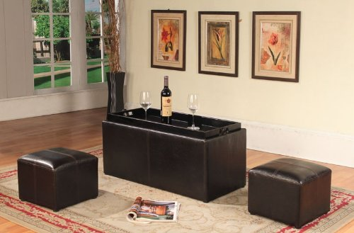 Roundhill Furniture Espresso Bonded Leather Storage Coffee Table with 2 Ottomans