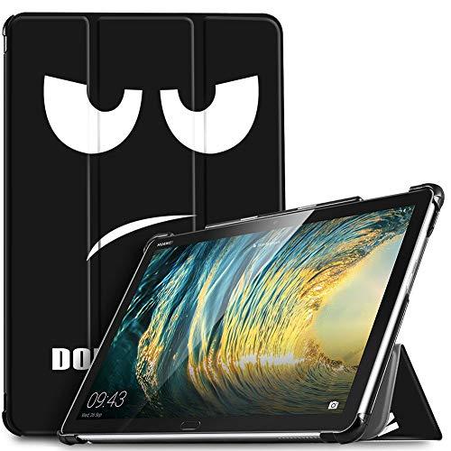 IVSO Hülle für Huawei MediaPad M5 Lite 10, Ultra Schlank Slim Schutzhülle Hochwertiges PU mit Standfunktion Ideal Geeignet für Huawei MediaPad M5 Lite 10 10.1 Zoll 2018 Modell, Soot Eye