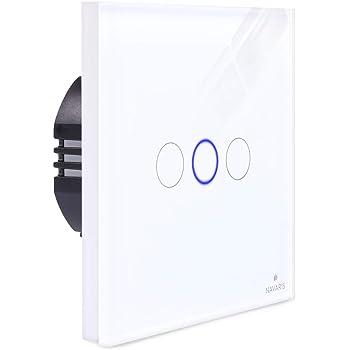 Navaris Interruptor de luz táctil para pared - Caja de cristal con pantalla táctil - Con 3 pulsadores indicador LED y material de montaje - Blanco: Amazon.es: Bricolaje y herramientas