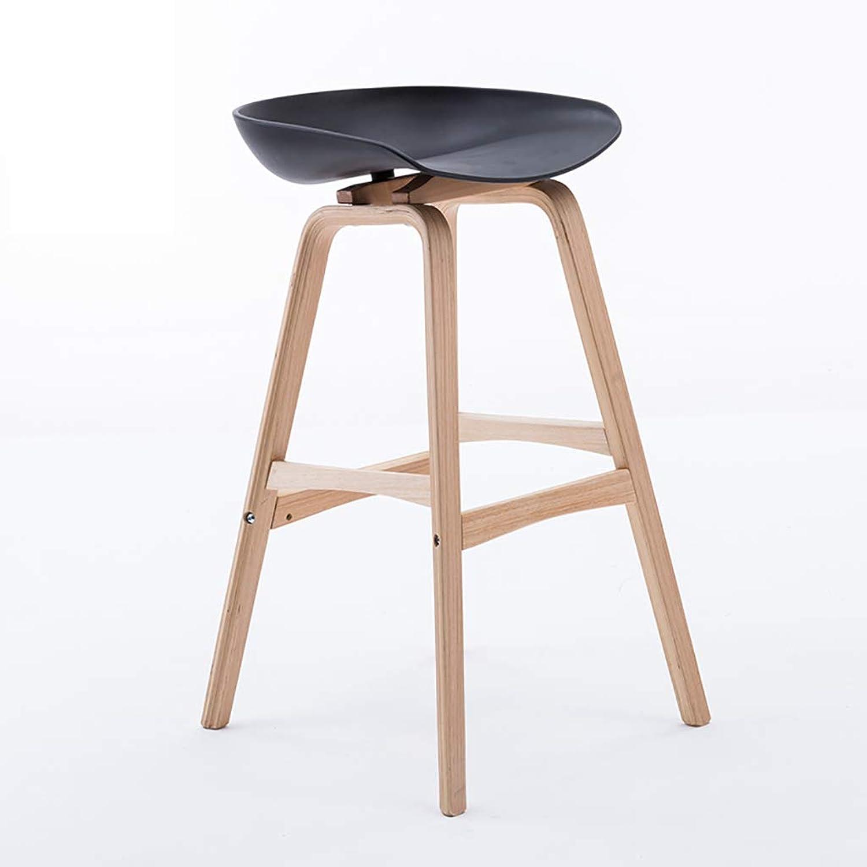 Beech Wood Bar Stool,Bar Chair,High Stool PP seat Cushion (65cm,75cm) (color   C, Size   65  49CM)