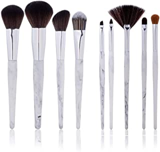 Ammiy Makeup Brushes Marble Texture Professional Makeup Brush Set Synthetic Foundation Kabuki Brushes for Blending Blush Eyeliner Face Powder Beauty Tool with Resin Type Material Handle(9pcs, White)